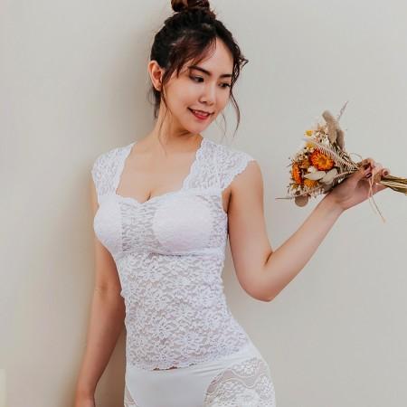 【Neoner Bratop】法式鏤空蕾絲無鋼圈胸罩上衣-白