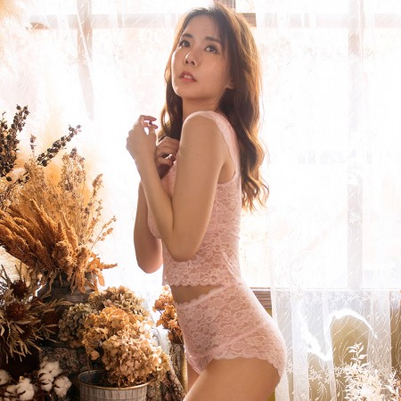 【Neoner銀離子】蕾絲輕束腹高腰褲-粉紅