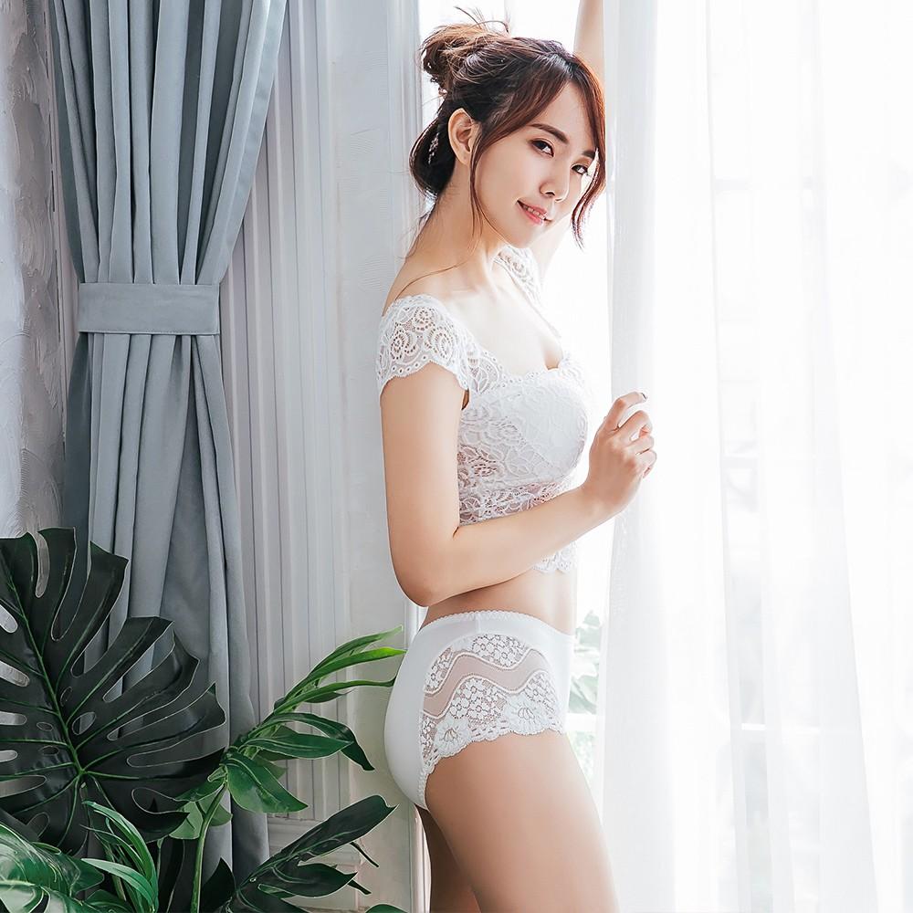 【Skylie】柔魅蕾絲中腰平口褲-白色