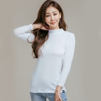 【L.K.】薄款高領氣暖絨保溫發熱衣-白