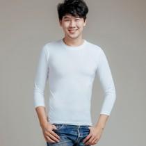 【L.K.男款】大U領氣暖絨保溫發熱衣-白色