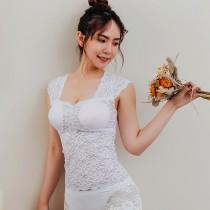 【Neoner Bratop】法式鏤空蕾絲無鋼圈胸罩上衣(內外兩用)-白