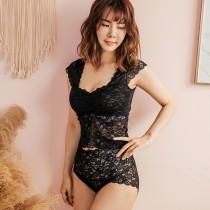 【Neoner銀離子】鏤空蕾絲高腰褲-黑色