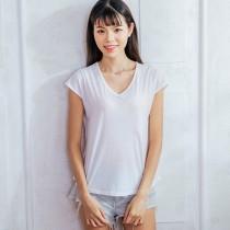 【Neoner涼感衣】超細涼絲包袖V領T恤-白