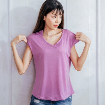【Neoner涼感衣】超細涼絲包袖圓領T恤-紫