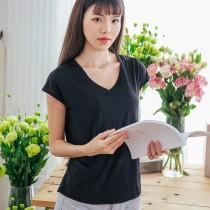 【Neoner涼感衣】超細涼絲包袖V領T恤-黑