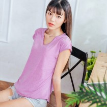 【Neoner涼感衣】超細涼絲包袖V領T恤-紫