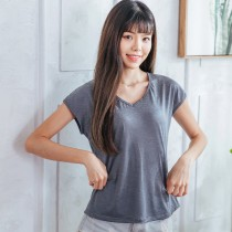 【Neoner涼感衣】超細涼絲包袖V領T恤-鐵灰