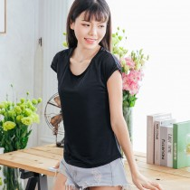 【Neoner涼感】超細涼絲包袖圓領T恤-黑