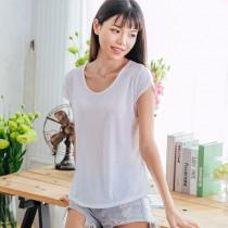 【Neoner涼感衣】超細涼絲包袖圓領T恤-白