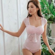【Neoner Bratop】短版法式鏤空蕾絲無鋼圈胸罩上衣-粉紅
