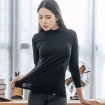L.K.】薄款高領氣暖絨保溫衣-黑色