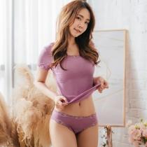 【Neoner銀離子】彈性親膚薄絲中腰褲-紫