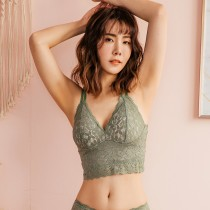 【Neoner Bratop】立體鏤空蕾絲附無鋼圈胸罩背心-莫蘭迪綠