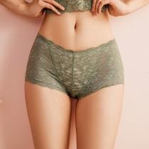 【Neoner銀離子】立體鏤空蕾絲中腰褲-莫藍迪綠