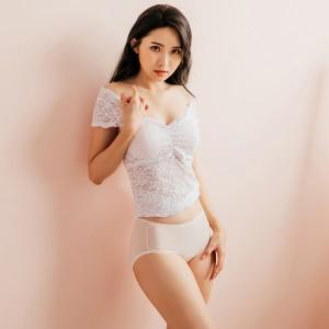天絲棉中腰彈性飾邊款-粉膚