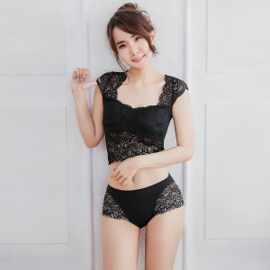 【Skylie】柔魅蕾絲中腰平口褲-黑色